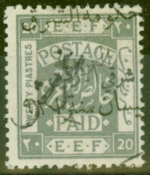 Collectible Postage Stamp from Transjordan 1923 2p on 20p SG88g Black Opt Fine & Fresh Lightly Mtd Mint