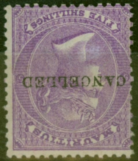 Collectible Postage Stamp from Mauritius 1865 5s Brt Mauve SG72w Wmk Inverted Cancelled Remainder Fine Mtd Mint