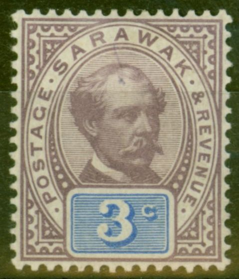 Collectible Postage Stamp from Sarawak 1888 3c Purple & Blue SG10 Fine Mtd Mint