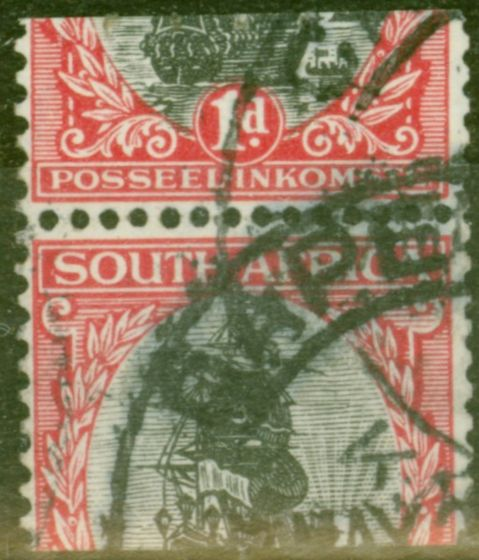 Valuable Postage Stamp from South Africa 1926 1d Black & Carmine SG26var Mis-Cut Machine Stamp Roulette x Perf Fine Used (4)