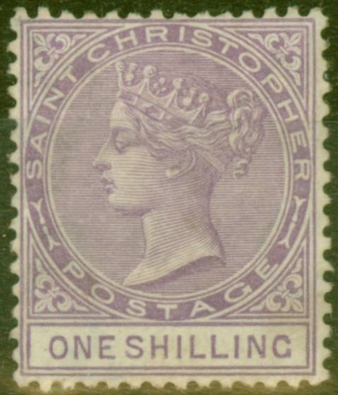 Collectible Postage Stamp from St Christopher 1886 1s Mauve SG20 Fine Lightly Mtd Mint