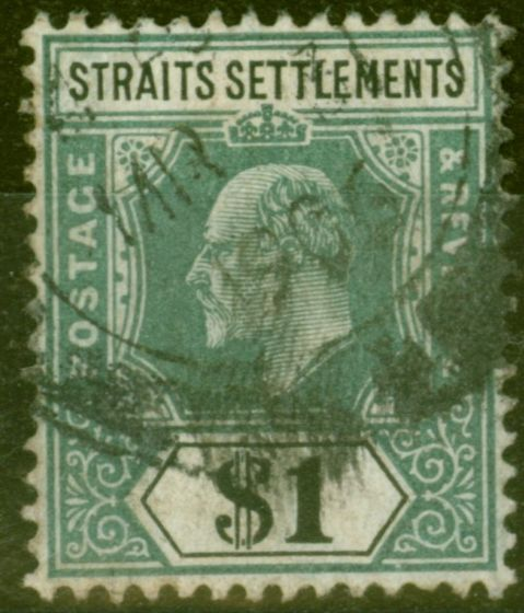 Valuable Postage Stamp from Straits Settlements 1905 $1 Dull Green & Black SG136 Good Used
