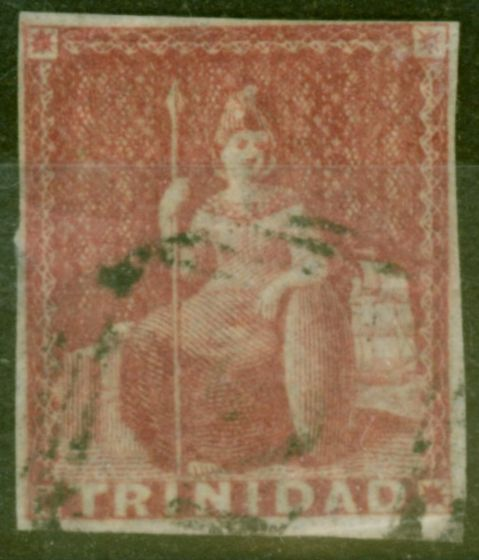 Rare Postage Stamp from Trinidad 1857  Rose-Red SG12 Good Used