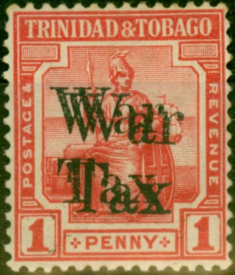 Valuable Postage Stamp from Trinidad & Tobago 1918 1d Scarlet SG188 War Tax Opt Double Fine Mtd Mint