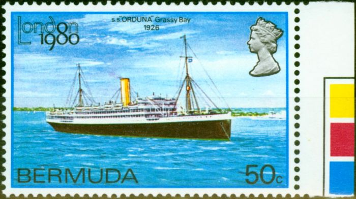 Valuable Postage Stamp from Bermuda 1980 50c London 80 SG418w Wmk Crown to Right of CA V.F MNH