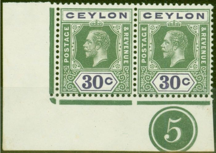 Rare Postage Stamp from Ceylon 1912 30c Yellow-Green & Violet SG313ab Wmk Sideways Superb MNH Plate Pair