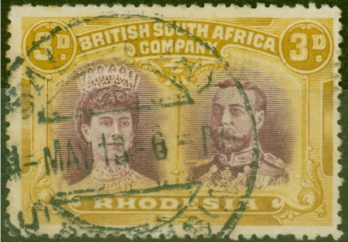 Valuable Postage Stamp from Rhodesia 1910 3d Purple & Ochre SG134 Fine Used