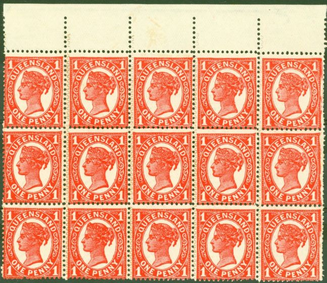 Rare Postage Stamp from Queensland 1897 1d Vermilion ZigZag SG259(d) Plain Roulette x Perf VF MNH Block 15