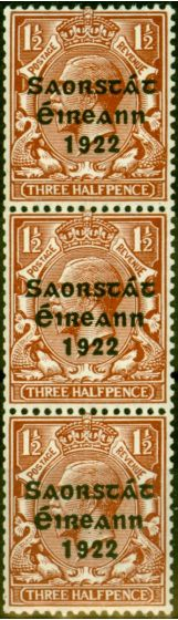 Collectible Postage Stamp from Ireland 1923 1 1/2d Red-Brown SG69 Harrison Coil Very Fine MNH Strip of 3