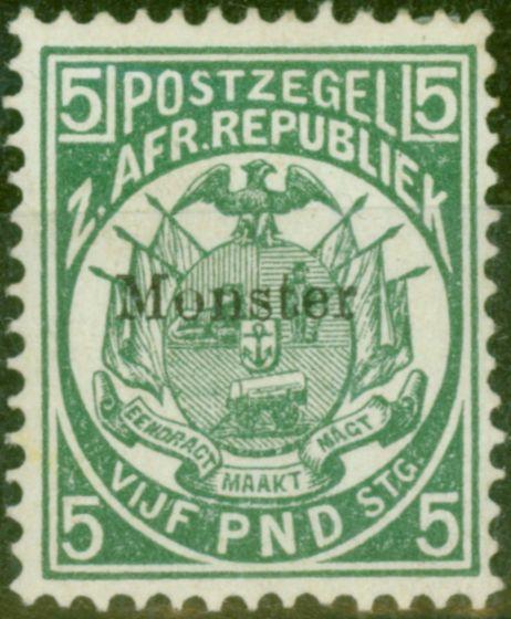Old Postage Stamp from Transvaal 1892 £5 Dp Green Monster Specimen SG187s V.F Lightly Mtd Mint