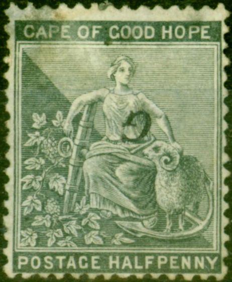 Rare Postage Stamp from Griqualand West 1878 1/2d Grey-Black SG15da Black Opt Inverted Good Mtd Mint