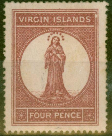 Old Postage Stamp from Virgin Islands 1867 4d Lake Red Pale Rose Paper SG15var Broken Frame V.F Mtd Mint