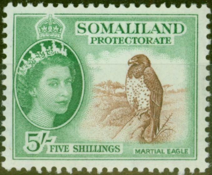 Old Postage Stamp from Somaliland 1953 5s Red-Brown & Emerald SG147 V.F MNH