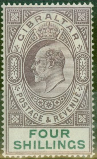 Old Postage Stamp from Gibraltar 1903 4s Dull Purple & Green SG53 Fine Mtd Mint (2)