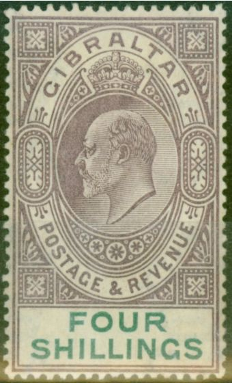 Rare Postage Stamp from Gibraltar 1903 4s Dull Purple & Green SG53 Fine Mtd Mint (3)