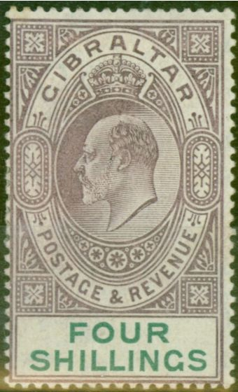 Old Postage Stamp from Gibraltar 1903 4s Dull Purple & Green SG53 Fine Mtd Mint (5)