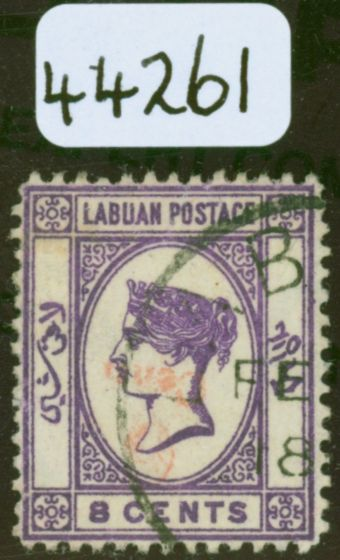 Old Postage Stamp from Labuan 1892 6c on 8c Mauve inverted/No Dot at Lower Left SG36a & SG36b Fine Used