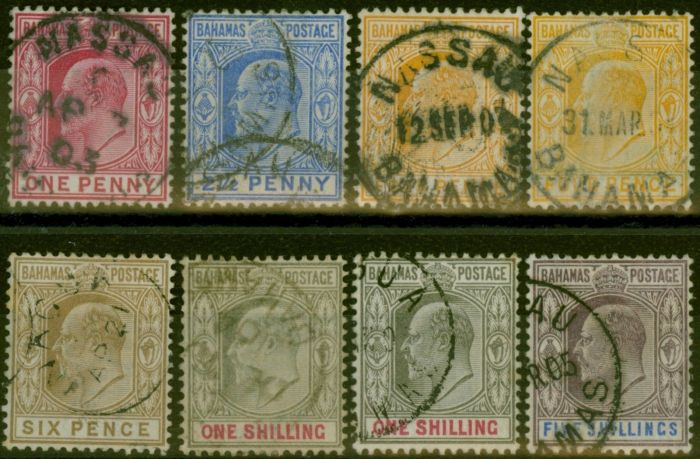 Old Postage Stamp from Bahamas 1902-10 set of 8 to 5s SG62-69 (both 4d & 1s) Fine Used