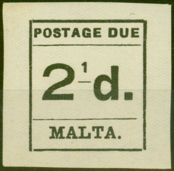 Rare Postage Stamp from Malta 1925 2 1/2d Black SGD5a 2 of 1/2 Omitted Fine MNH