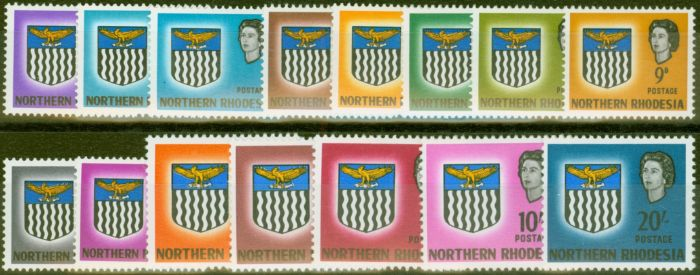 Old Postage Stamp from Northern Rhodesia 1963 set of 15 SG75-88 V.F Very Lightly Mtd Mint Includes 1d Value Omitted