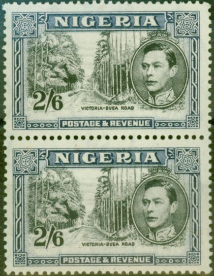 Old Postage Stamp from Nigeria 1947 2s6d Black & Dp Blue SG58ab Fine MNH