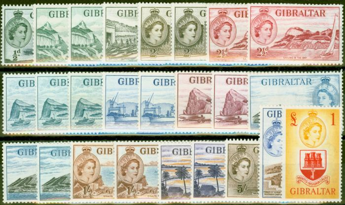 Rare Postage Stamp from Gibraltar 1953-59 Extended set of 25 SG145-158 All Shades Fine Lightly Mtd Mint CV £347