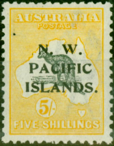 New Guinea 1919 5s Grey & Yellow SG116 Fine & Fresh Mtd Mint