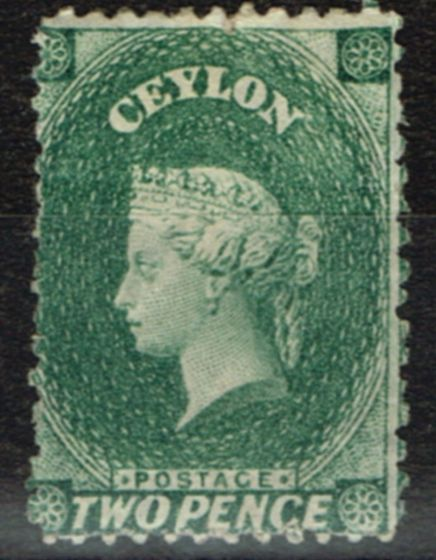 Rare Postage Stamp from Ceylon 1864 2d Grey-Green SG50 Fine Mtd Mint