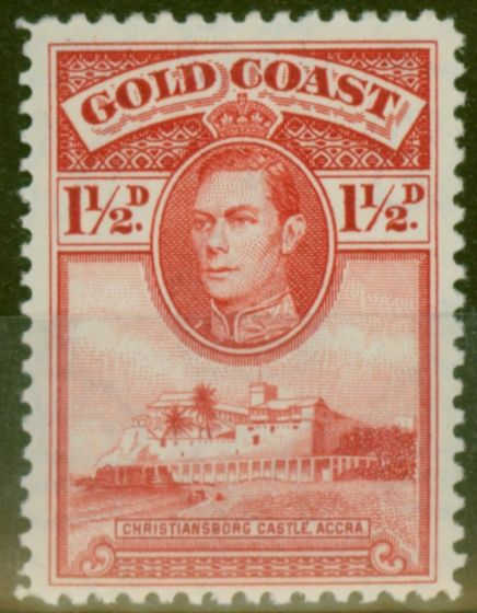 Valuable Postage Stamp from Gold Coast 1938 1 1/2d Scarlet SG122 P.12 Fine & Fresh Lightly Mtd Mint