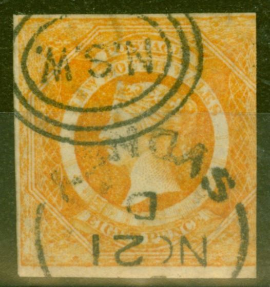 Old Postage Stamp from NSW 1854 8d Dull Yellow-Orange SG98 Fine Used 3 Margins