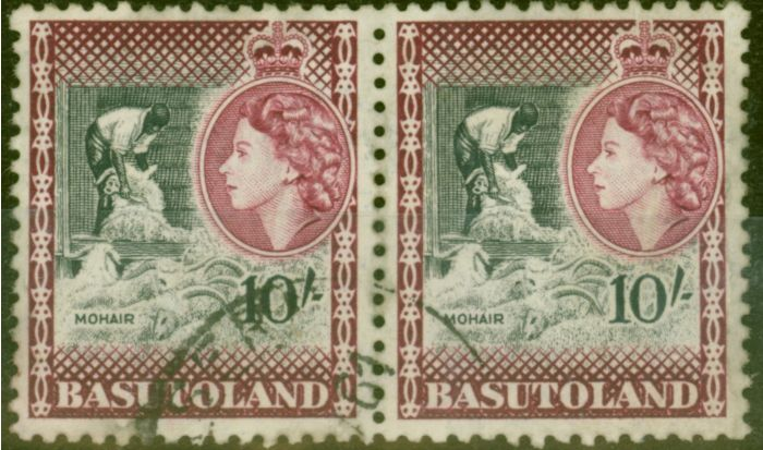 Old Postage Stamp from Basutoland 1954 10s Black & Maroon SG53 Fine Used Pair