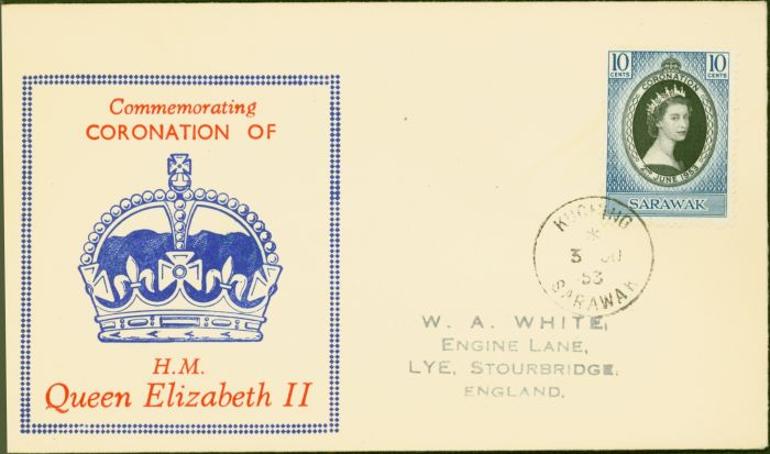 Valuable Postage Stamp from Sarawak 1953 Coronation 10c 1st Day Cover to Stourbridge Fine & Attractive