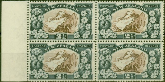 Rare Postage Stamp from New Zealand 1935 2 1/2d Chocolate & Slate SG560b P.13.5 x 14 V.F MNH Block of 4