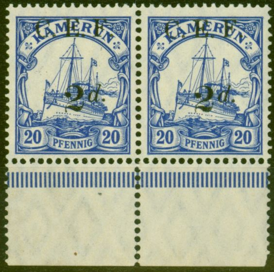 Collectible Postage Stamp from Cameroon 1915 2d on 20pf Ultramarine SGB4a Surch Double One Albino V.F MNH Pair