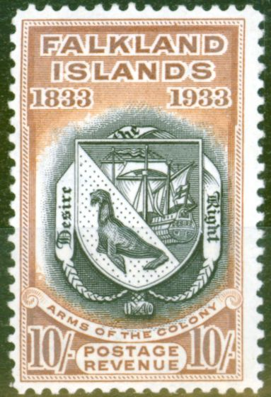 Old Postage Stamp from Falkland Islands 1933 10s Black & Chestnut SG137 Fine Very Lightly Mtd Mint