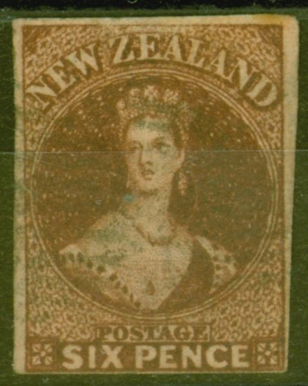 Collectible Postage Stamp from New Zealand 1862 6d Brown SG42 Good Used