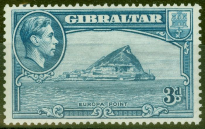Valuable Postage Stamp from Gibraltar 1938 3d Lt Blue SG125 P.13.5 Fine Lightly Mtd Mint