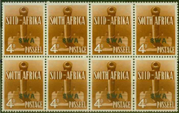 Collectible Postage Stamp from S.W.A 1941 4d Orange-Brown V.F MNH Block of 8, 4 Pairs