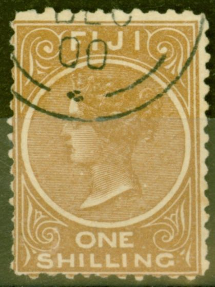Old Postage Stamp from Fiji 1899 1s Dp Brown SG67a P.11 x 11.75 Fine Used