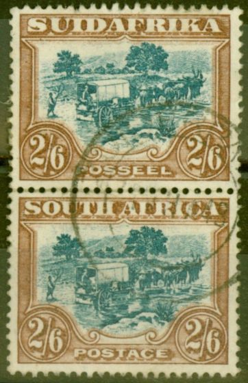 Collectible Postage Stamp from South Africa 1927 2s6d Green & Brown SG37 Fine Used Vert Pair