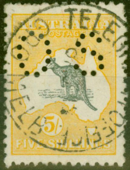 Old Postage Stamp from Australia 1915 5s Grey & Yellow SG037 V.F.U