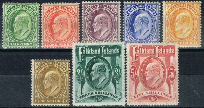Collectible Postage Stamp from Falkland Islands 1904 set of 8 SG43-50 Fine Mtd Mint