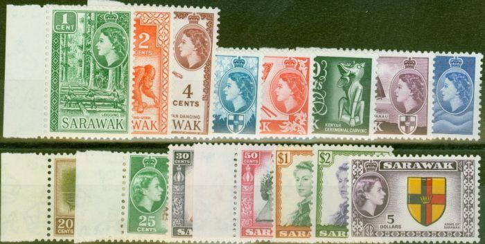 Old Postage Stamp from Sarawak 1955-57 set of 15 SG188-202 V.F MNH & LMM