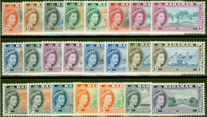 Collectible Postage Stamp from Bahamas 1954-63 Extended set of 23 SG201-216 All Types V.F Very Lightly Mtd Mint CV £277