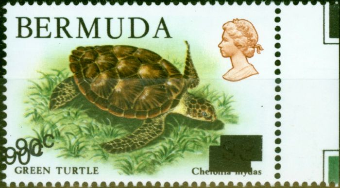 Rare Postage Stamp from Bermuda 1986 90c on $3 Turtle SG534a Surch Double V.F MNH