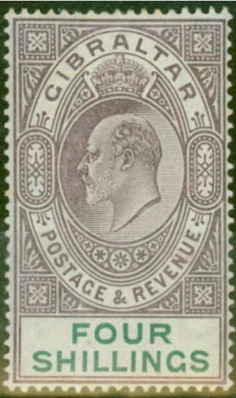 Rare Postage Stamp from Gibraltar 1903 4s Dull Purple & Green SG53 Fine & Fresh Lightly Mtd Mint (8)
