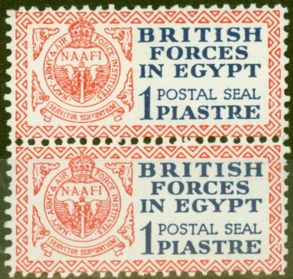 Valuable Postage Stamp from Egypt 1932 1p Dp Blue & Red Postal Seal SGA1 V.F MNH & LMM Vertical Pair