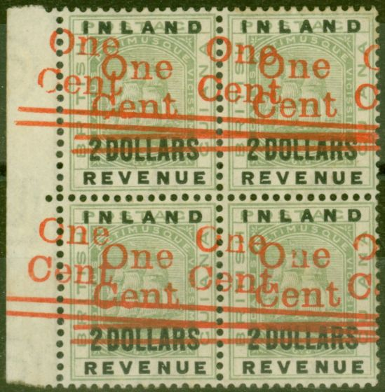 Valuable Postage Stamp from British Guiana 1890 1c on $2 Green SG208a Surch Double Fine MNH Block of 4 Spectacular Piece