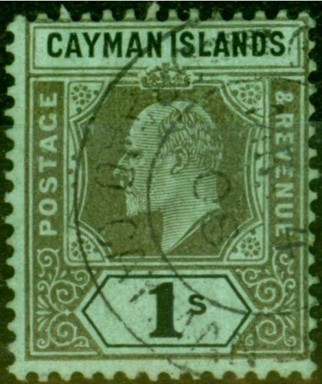 Old Postage Stamp from Cayman Islands 1907 1s Black-Green SG31a Damaged Frame & Crown V.F.U Scarce