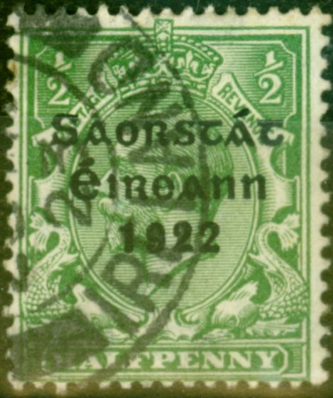 Rare Postage Stamp from Ireland 1923 1/2d Green SG67 Harrison Coil Fine Used